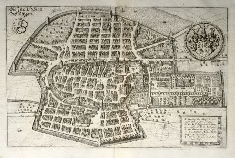 Antique Maps, Merian, Germany, Baden-Wurttemberg, Stuttgart, 1643: Die Fürst: Statt Stuetgart