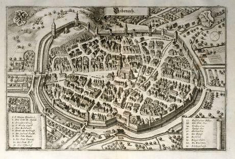 Antique Maps, Merian, Germany, Baden-Wurttemberg, Biberach, 1643: Biberach