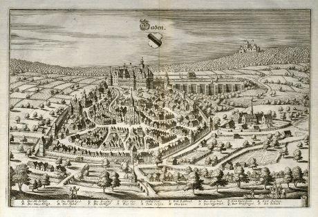 Antike Landkarten, Merian, Deutschland, Baden-Württemberg, Baden-Baden, 1643: Baden