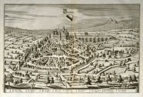 Antique Maps, Merian, Germany, Baden-Wurttemberg, Baden-Baden, 1643: Baden