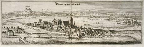 Antike Landkarten, Merian, Deutschland, Baden-Württemberg, Bad Buchau, 1643: Buchau Statt und Stifft
