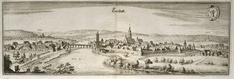 Antique Maps, Merian, Germany, Baden-Wurttemberg, Bad Cannstatt, 1643: Canstatt