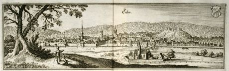 Antique Maps, Merian, Germany, Baden-Wurttemberg, Calw, 1643: Calw
