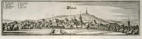 Antique Maps, Merian, Germany, Baden-Wurttemberg, Karlsruhe, Durlach, 1643: Durlach