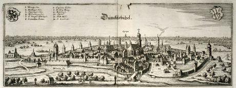 Antike Landkarten, Merian, Deutschland, Bayern, Dinkelsbühl, 1643: Dünckelsbühel