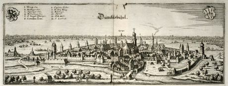 Antique Maps, Merian, Germany, Bavaria, Dinkelsbühl, 1643: Dünckelsbühel
