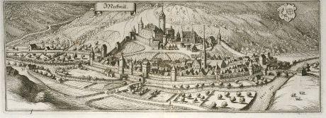 Antike Landkarten, Merian, Deutschland, Baden-Württemberg, Möckmühl, 1643: Meckmül