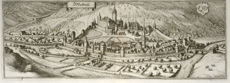 Antique Maps, Merian, Germany, Baden-Wurttemberg, Möckmühl, 1643: Meckmül