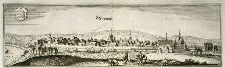 Antike Landkarten, Merian, Deutschland, Baden-Württemberg, Marbach, 1643: Marpach