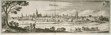 Antike Landkarten, Merian, Deutschland, Baden-Württemberg, Offenburg, 1643: Offenburg