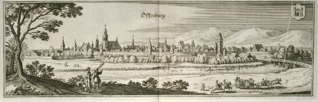 Antique Maps, Merian, Germany, Baden-Wurttemberg, Offenburg, 1643: Offenburg