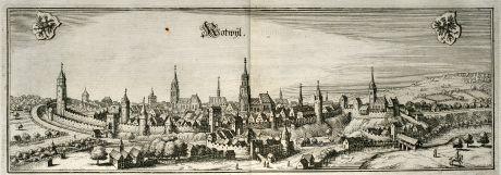 Antike Landkarten, Merian, Deutschland, Baden-Württemberg, Rottweil, 1643: Rotwyl