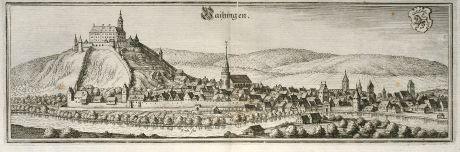 Antike Landkarten, Merian, Deutschland, Baden-Württemberg, Vaihingen an der Enz: Vaihingen