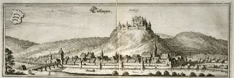 Antique Maps, Merian, Germany, Baden-Wurttemberg, Tuttlingen, 1643: Tutlingen