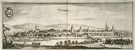 Antike Landkarten, Merian, Deutschland, Baden-Württemberg, Besigheim, 1643: Besigheim
