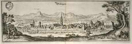 Antike Landkarten, Merian, Deutschland, Baden-Württemberg, Balingen, 1643: Balingen