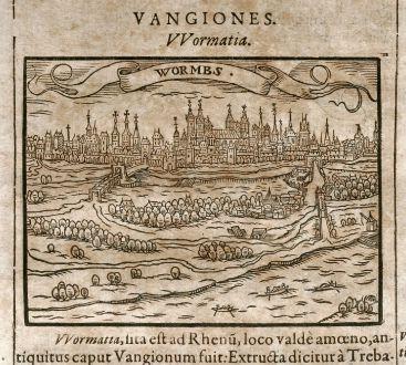 Antike Landkarten, Saur, Deutschland, Worms / Straßburg, 1608: Wormbs / Straszburg