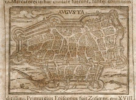 Antike Landkarten, Saur, Deutschland, Bayern, Augsburg, 1608: Augusta