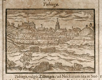 Antique Maps, Saur, Germany, Baden-Wurttemberg, Tübingen, 1608: Tubinga