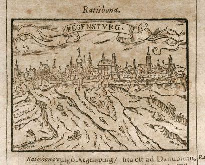 Antike Landkarten, Saur, Deutschland, Bayern, Straubing / Landshut, 1608: Regenspurg / Landeshutsium