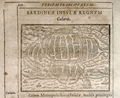 Antike Landkarten, Saur, Italien, Sardinien, Cagliari, 1608: Calaris