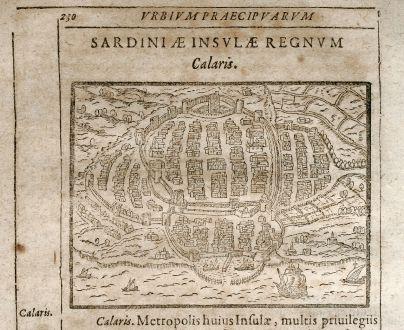 Antique Maps, Saur, Italy, Sardinia, Cagliari, 1608: Calaris
