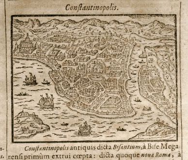 Antique Maps, Saur, Turkey, Istanbul, 1608: Constantinopolis