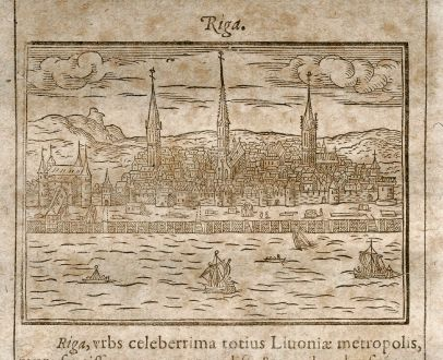 Antique Maps, Saur, Baltic, Latvia, Riga, 1608: Riga
