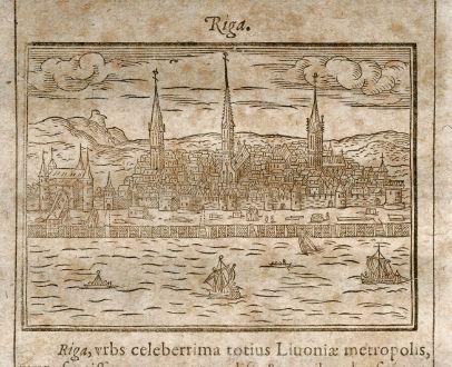 Antike Landkarten, Saur, Baltikum, Lettland, Riga, 1608: Riga