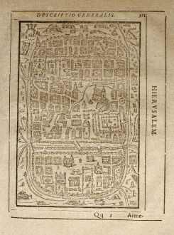 Antique Maps, Saur, Holy Land, Jerusalem, 1608: Hierusalem