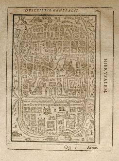 Antique Maps, Saur, Holy Land, Jerusalem, 1608: Hierusalem