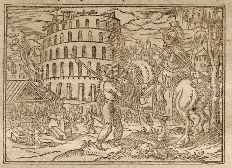 Antique Maps, Saur, Middle East, Babylon, Tower of Babel, 1608: [Babylon]