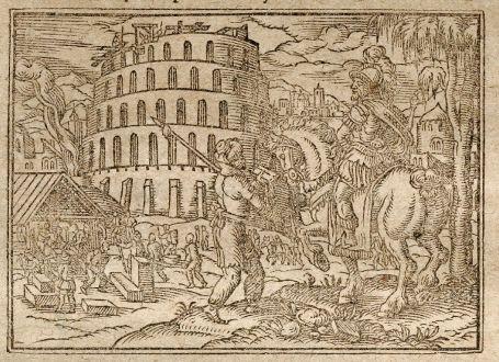 Antike Landkarten, Saur, Mittlerer Osten, Babylon, Turm zu Babel, 1608: [Babylon]