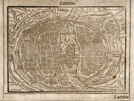 Antique Maps, Saur, France, Paris / Lyon, 1608: Paris / Lugdunum