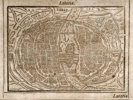 Antike Landkarten, Saur, Frankreich, Paris / Lyon, 1608: Paris / Lugdunum