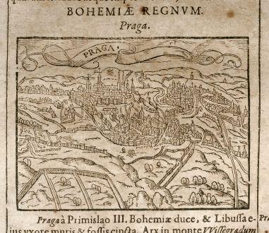 Antike Landkarten, Saur, Tschechien - Böhmen, Prag, 1608: Praga