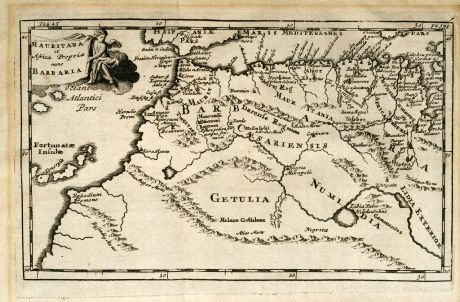 Antike Landkarten, Clüver, Nordafrika, Nordwest Afrika, 1700: Mauritana et Africa Propria nunc Barbaria