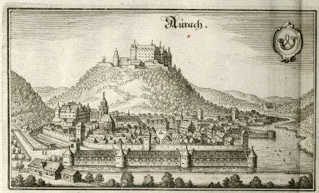 Antike Landkarten, Merian, Deutschland, Bayern, Aurach, 1643: Aurach