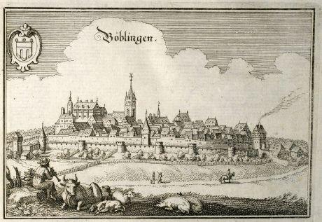 Antike Landkarten, Merian, Deutschland, Baden-Württemberg, Böblingen, 1643: Böblingen