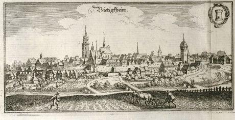 Antike Landkarten, Merian, Deutschland, Baden-Württemberg, Bietigheim-Bissingen: Bietigheim