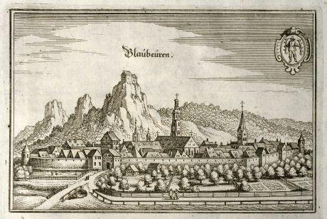 Antike Landkarten, Merian, Deutschland, Baden-Württemberg, Blaubeuren, 1643: Blaubeüren