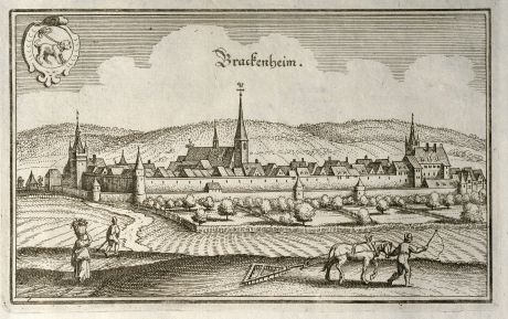 Antike Landkarten, Merian, Deutschland, Baden-Württemberg, Brackenheim, 1643: Brackenheim