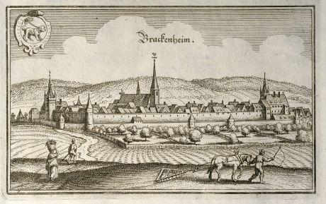 Antique Maps, Merian, Germany, Baden-Wurttemberg, Brackenheim, 1643: Brackenheim