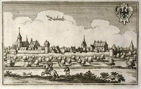 Antike Landkarten, Merian, Deutschland, Baden-Württemberg, Schwarzwald, Neubulach: Büelach
