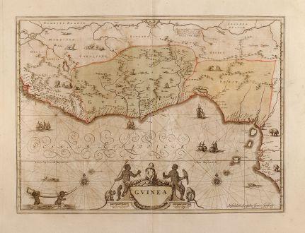 Antike Landkarten, Janssonius, Westafrika, Guinea, Benin, 1660: Guinea