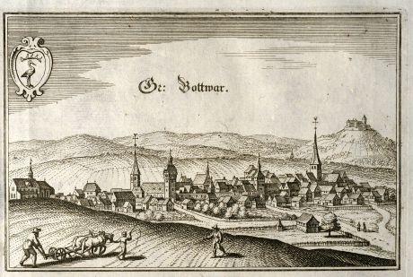 Antike Landkarten, Merian, Deutschland, Baden-Württemberg, Großbottwar, 1643: Gr: Bottwar