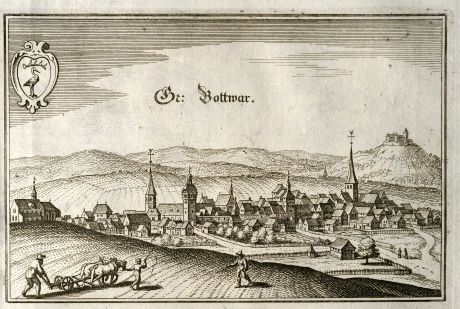 Antique Maps, Merian, Germany, Baden-Wurttemberg, Grossbottwar, 1643: Gr: Bottwar