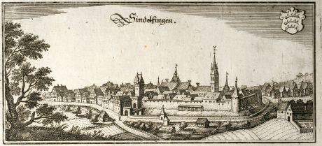 Antike Landkarten, Merian, Deutschland, Baden-Württemberg, Sindelfingen, 1643: Sindelfingen