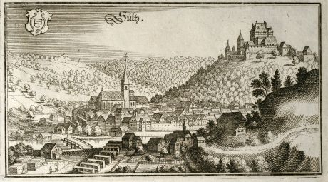Antike Landkarten, Merian, Deutschland, Baden-Württemberg, Sulz am Neckar, Albeck: Sultz