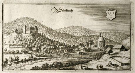 Antike Landkarten, Merian, Deutschland, Baden-Württemberg, Schwarzwald, Schiltach: Schiltach